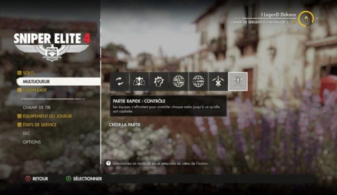 menu multijoueur de Sniper Elite 4