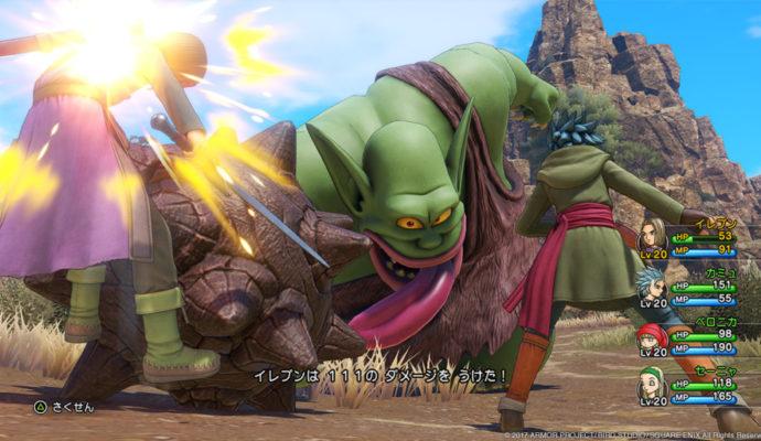 Dragon Quest XI combat contre un cyclope.