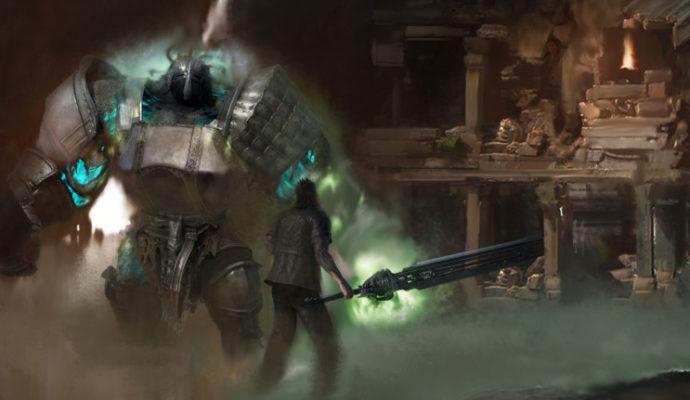 Final Fantasy XV Episode Gladiolus Gladio contre un géant.