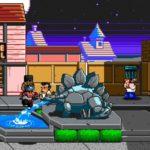 River City Ransom: Underground statue dinosaure