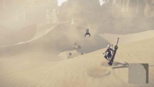 Test NieR: Automata - 2B surfant dans le désert