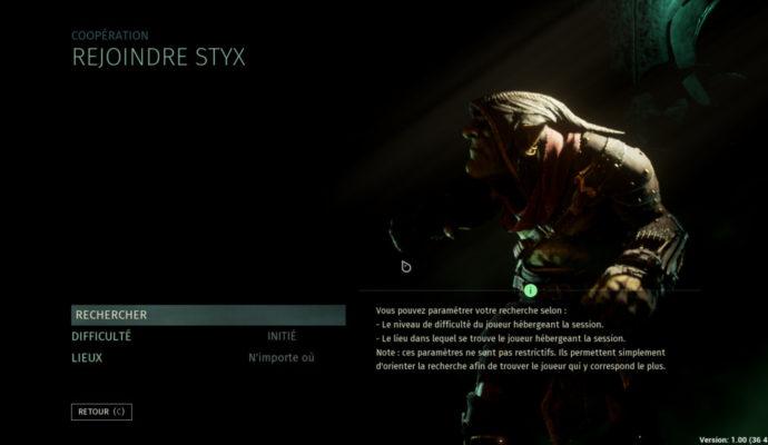 Styx : Shards of Darkness - menu coop