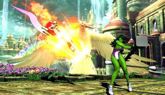 Ultimate Marvel vs Capcom 3 combat She-Hulk et Viewtiful Joe