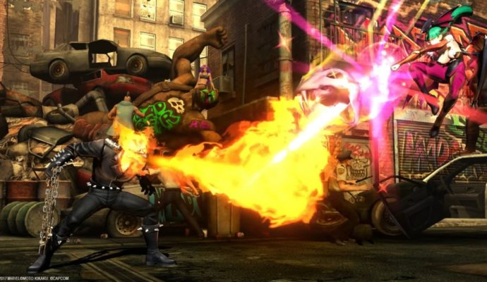 Ultimate Marvel vs Capcom 3 combat Ghots rider et Morrigan