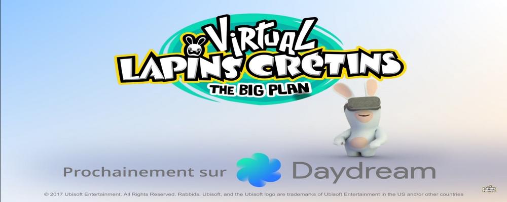Virtual Lapins Crétins: The Big Plan une image du trailer, montrant un Lapin crétin avec le casque de réalité virtuelle Daydream