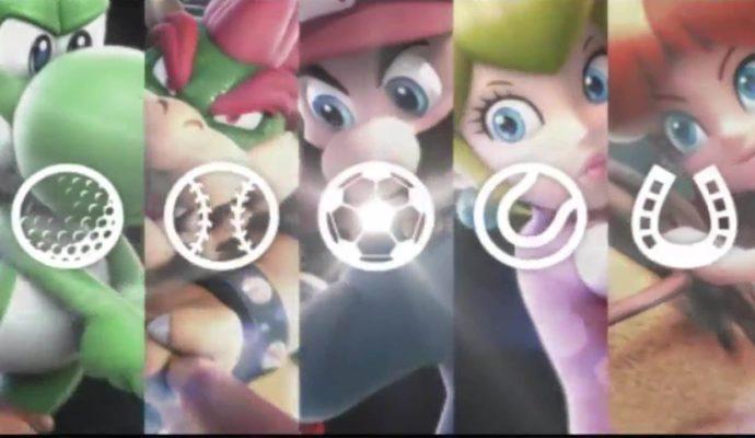 Mario Sport Superstars Yoshi Bowser Mario Peach Daisy jouent au golf, baseball, foot, tennis et équitation