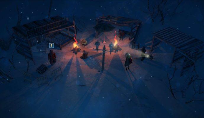 Impact Winter scène de nuit, Jacob et les survivants.