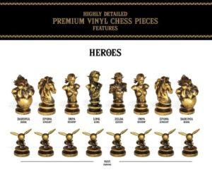 Les pièces des héros du jeu d'échecs The Legend of Zelda
