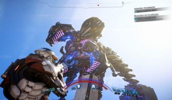 Un Architecte Reliquat dans Mass Effect Andromeda face à notre personnage