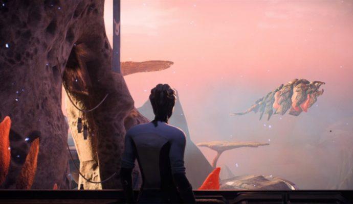 Une Asari regarde les modifications environnementales d'Havarl, planète sur laquelle vous pouvez vous rendre dans Mass Effect: Andromeda.