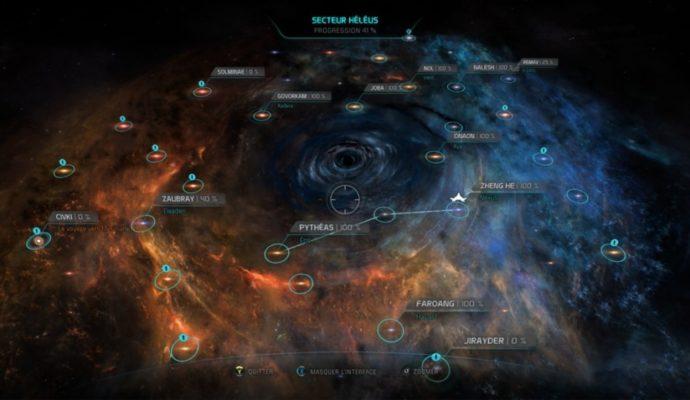 La carte de la région Héléus dans Mass Effect: Andromeda.