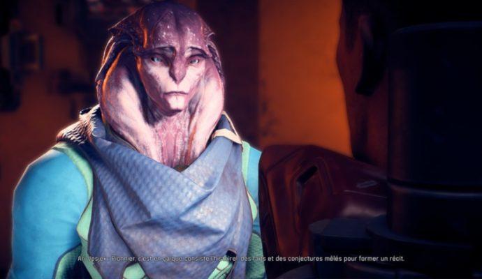 Un historien Angara dans Mass Effect: Andromeda nous explique que l'histoire n'est qu'un tissu de mensonges fait pour enjoliver la réalité.