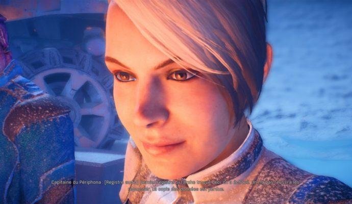 Cora sourit lorsqu'on lui annonce la perte de l'Arche Asari, dans laquelle se trouve des proches avec qui elle a combattu et grandit dans Mass Effect Andromeda.