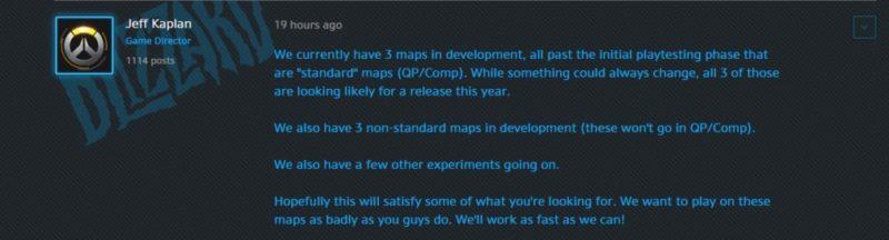 Le message de Jeff Kaplan sur les forums d'Overwatch à propos du peu de sorties d'arènes cette année.