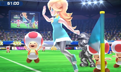 Mario Sport Superstars Peach joue au foot