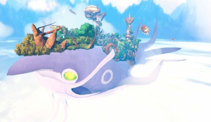 La grande cité de Mantara dans Shiness: The Lightning Kingdom, sur le dos d'une gigantesque créature volante.