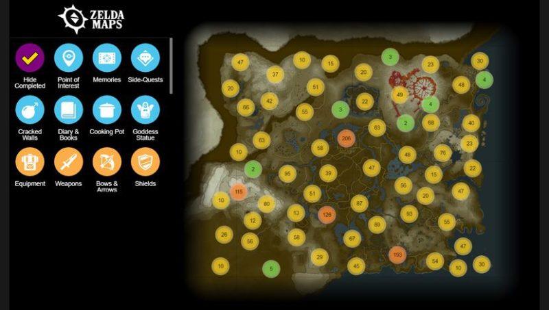 The Legend of Zelda: Breath of the Wild Map interactive