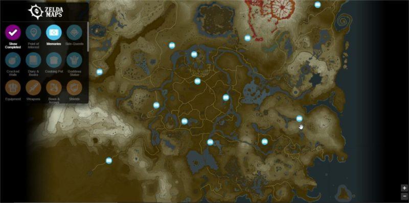 The Legend of Zelda: Breath of the wild emplacement mémoires
