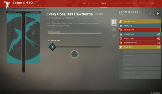 Destiny 2 Gameplay Menu Clan