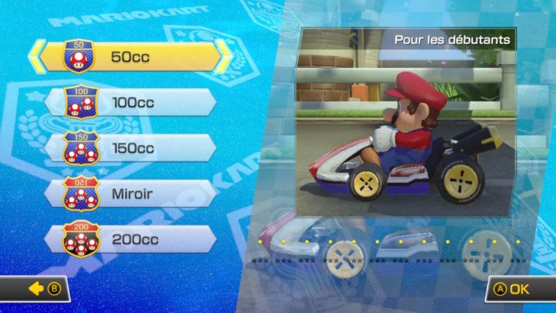 Mario Kart 8 Deluxe Nintendo Switch les différentes vitesses de l'IA