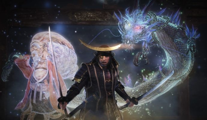Nioh Dragon of the North invocation dragon et tête de gourde
