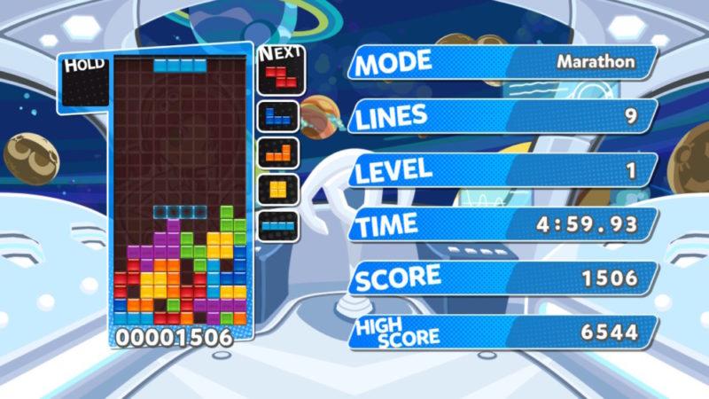 Marathon Tétris dans Puyo Puyo Tetris