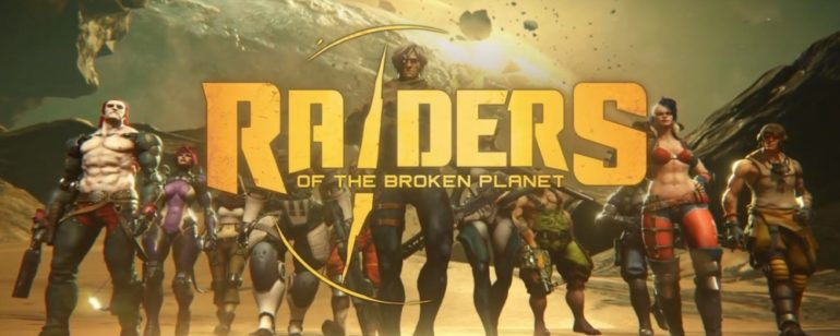 une image officielle de Raiders of the Broken Planet, montrant les protagonistes du jeu.