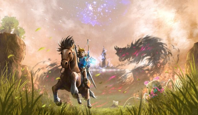 The Legend of Zelda: Breath of the Wild Link au galop