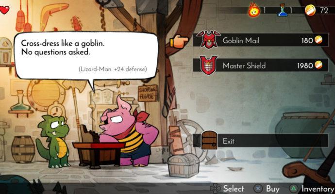 Wonder Boy: The Dragon's Trap faire ses course dans un magasin cochon