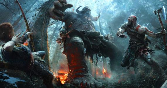 God of War Kratos et son rejeton contre un grand gaillard