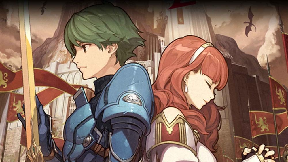 Alm et Celica, personnages principaux de Fire Emblem Echoes: Shadows of Valentia, dos à dos devant le palais de Zofia.
