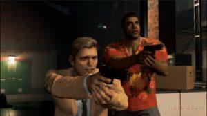 Lincoln et Donovan, dans Mafia III, dans un échange de coups de feu dans Mafia III