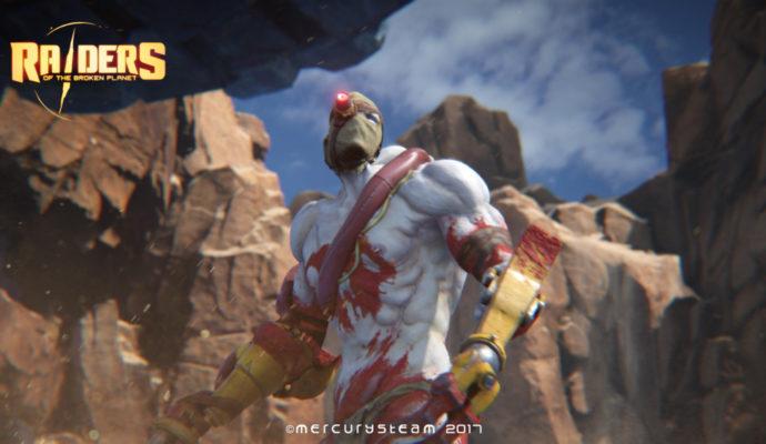 Un Raider de Raiders of the Broken Planet qui fait penser à la fusion de Deadshot (univers DC Comics) avec un Sadique de Borderlands.