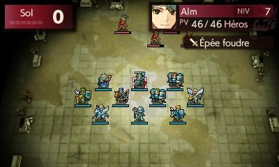 Un écran de combat sur Fire Emblem Echoes: Shadows of Valentia