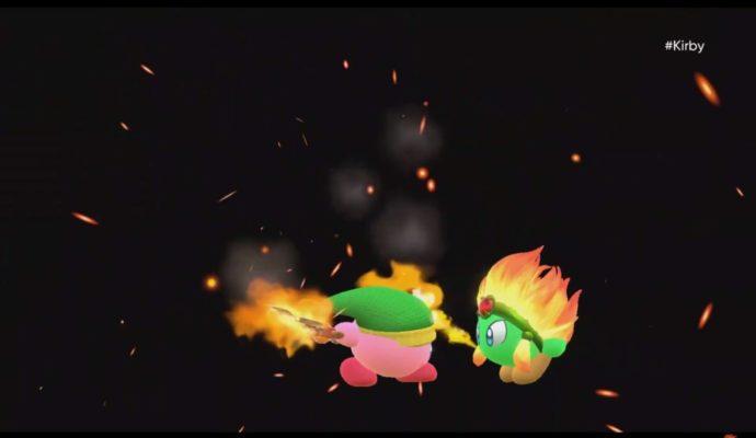 Kirby se repaît de la chair brûlée de ses ennemis