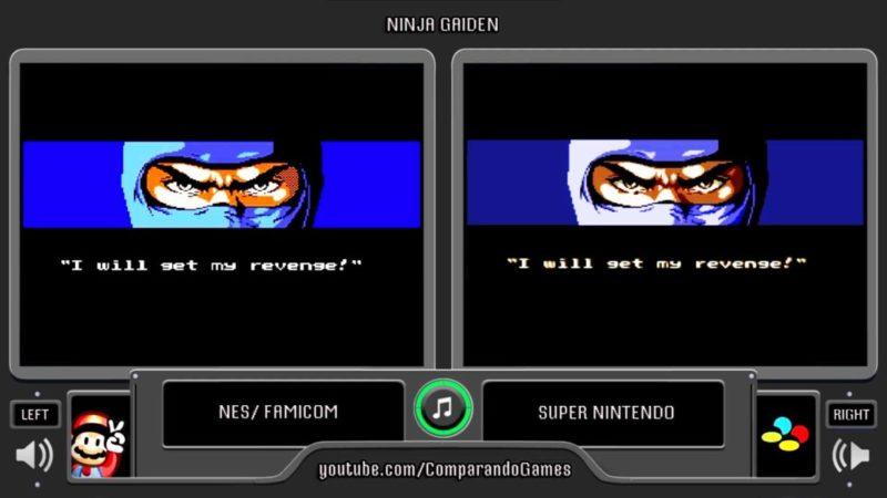 Un comparatif des images de la NES et la SNES sur Ninja Gaiden