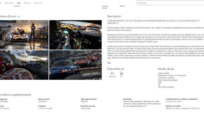 Forza Motorsport 7 Windows Store