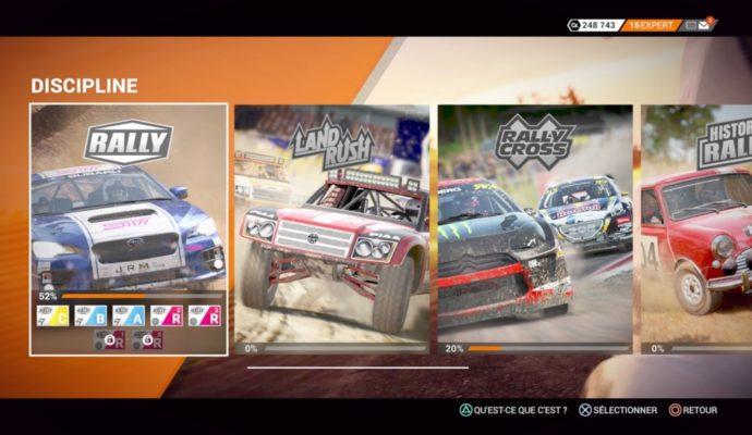 DiRT 4 - catégorie de courses