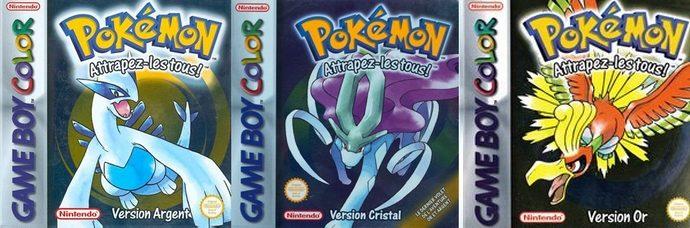 Les trois versions de Pokémon de la seconde génération.