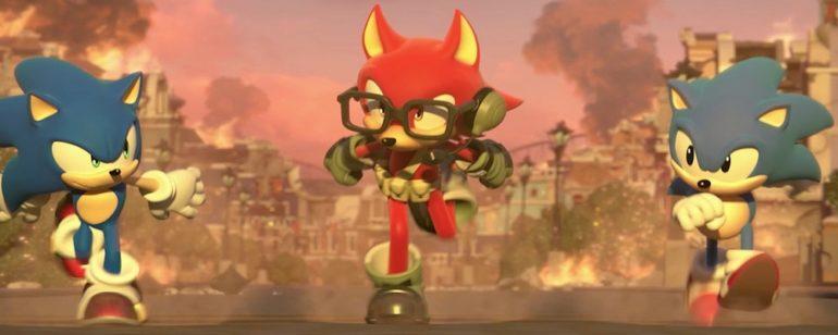 Une image de Sonic nouveau, Sonic retro et le héros personnalisé de Sonic Forces