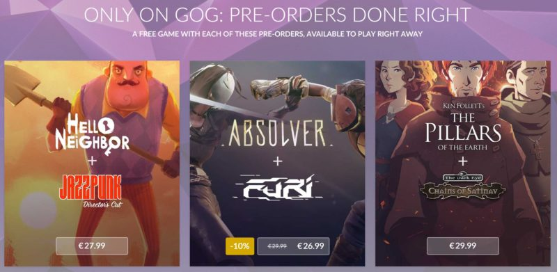 GOG.com hello neighbor absolver the pillars of the earth bonus précommande