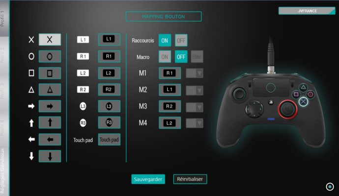 Interface de personalisation de la manette Nacon Revolution Pro Controller