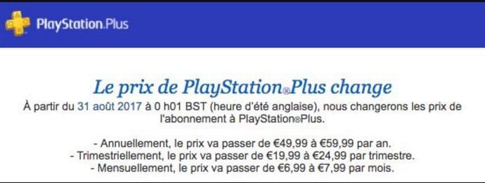 PlayStation Plus e-mail hausse des tarifs