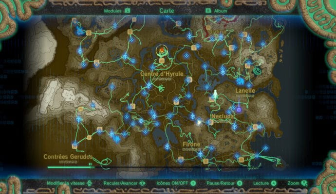 The Legend of Zelda: Breath of the Wild carte mode empreinte
