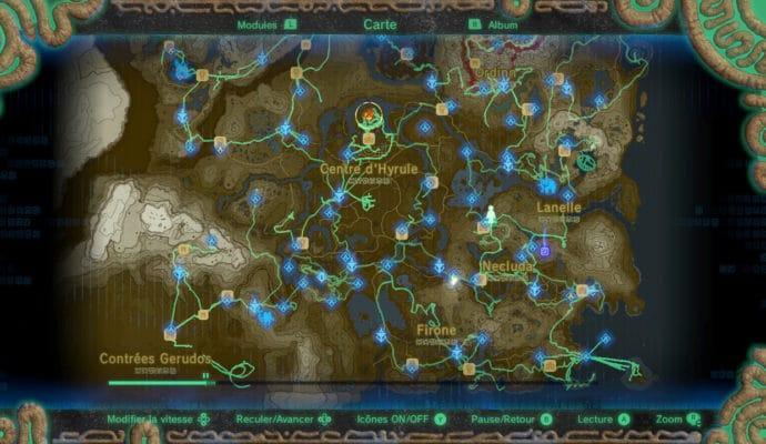 The Legend of Zelda: Breath of the Wild carte mode empreinte