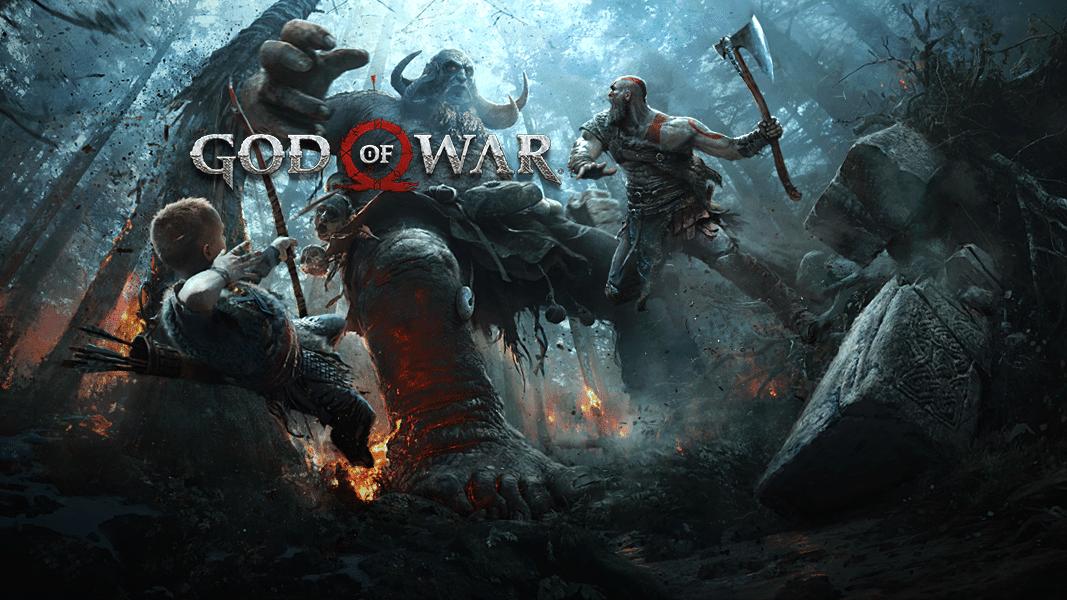 God of War Kratos et Atreus combat artwork