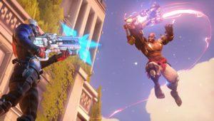 Doomfist en l'air, pour frapper Soldat:76 sur Overwatch