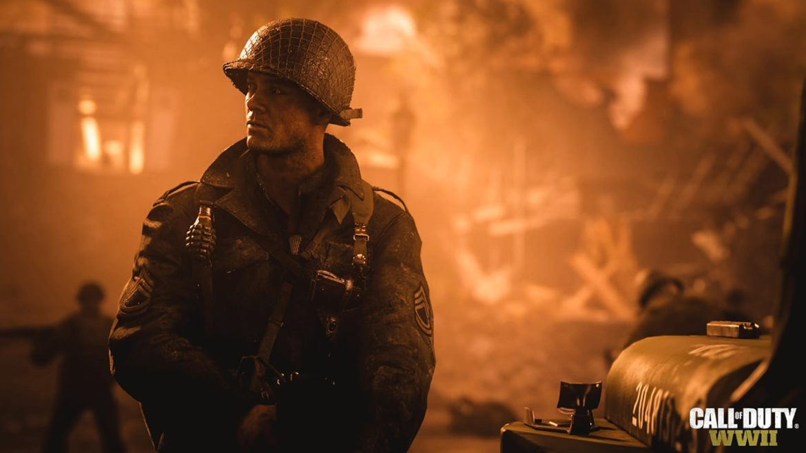 Call of Duty: WWII soldat incendie