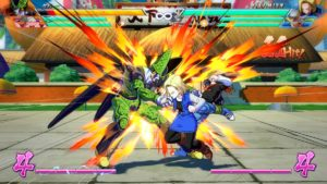 Dragon Ball FighterZ C-17 et C-18 tabassent Cell