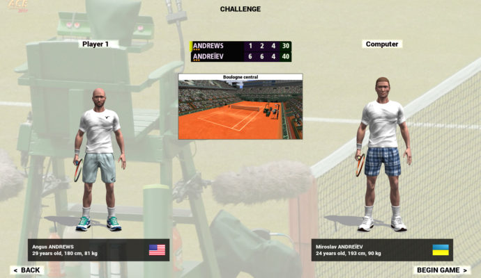 Full Ace Tennis mode challenge